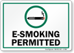 E-Smoking Permitted With Graphic Sign