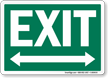 Exit White On Green Sign with Bidirectional Arrow
