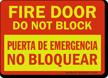 Bilingual Fire Door Do Not Block Glow Sign