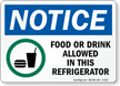 Food Or Drink Allowed In This Refrigerator Sign