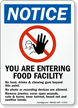 Food Facility No Food, Drink, Chewing Gum Sign