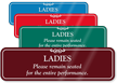 Ladies Remain Seated Funny Restroom Wall Sign