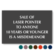 Sale Of Laser Pointer Under 18 Misdemeanor Sign