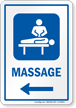Massage Left Arrow Hospital Sign