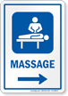 Massage Right Arrow Hospital Sign