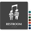 Restroom Braille Sign with Music Connect People Symbol