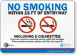 No Smoking Within 15 FT Of Entryway Sign