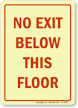 No Exit Below This Floor Sign