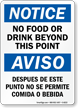 No Food Drink Beyond This Point Bilingual Sign