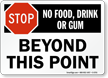 No Food Drink Beyond This Point Sign