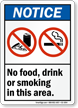 No Food Drink Smoking Area Sign