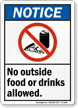No Outside Food Drinks Allowed Sign