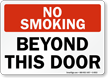 No Smoking Beyond This Door Sign
