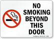 No Smoking Beyond This Door (symbol) Sign