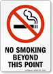 No Smoking Beyond This Point (symbol) Sign