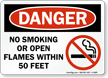 Danger No Smoking Or Open Flames Sign