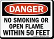No Smoking within 50 Feet Danger Sign