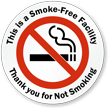 Thank you for Not Smoking Window Decal