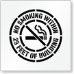 No Smoking Within Building Area Floor Stencil