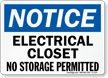 Notice Electrical Closet No Storage Sign