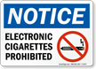 Electronic Cigarettes Prohibited Sign With Graphic