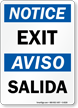 Notice Exit Aviso Salida Sign