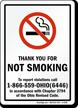 THANK YOU NOT SMOKING violations call Sign