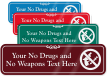 Personalized No Drugs Weapons ShowCase Wall Sign