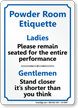 Powder Room Etiquette Ladies Gentlemen Restroom Sign