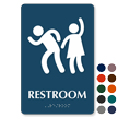 Party Restroom Sign with Man Woman Graphic