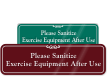Sanitize Exercise Equipment After Use ShowCase Wall Sign
