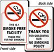 Smoke Free Facility, Thank You Sign