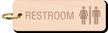 Unisex Restroom Keychain, Wood