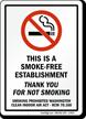 This Is A Smoke-Free Establishment Sign