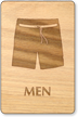 Men Trunk Symbol Wooden Restroom Sign