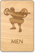 Weight-Lifting Men Wooden Restroom Sign
