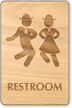 Dancing Men And Women Unisex Wooden Restroom Sign