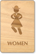 Dancing Women Wooden Restroom Sign