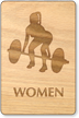 Weight-Lifting Women Wooden Restroom Sign