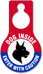 Enter With Caution Dog Inside Hang Tag