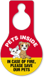 In Case Of Fire Save Pets Hang Tag