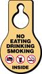 No Eating Drinking Smoking Door Hang Tag