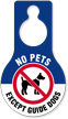 No Pets Except Guide Dogs Hang Tag