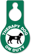 Therapy Dog On Duty Door Hang Tag