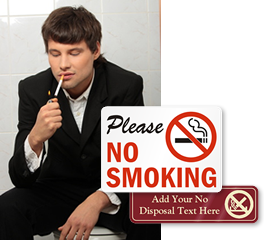 putting horizontally no smoking in the bathroom husband Italian and