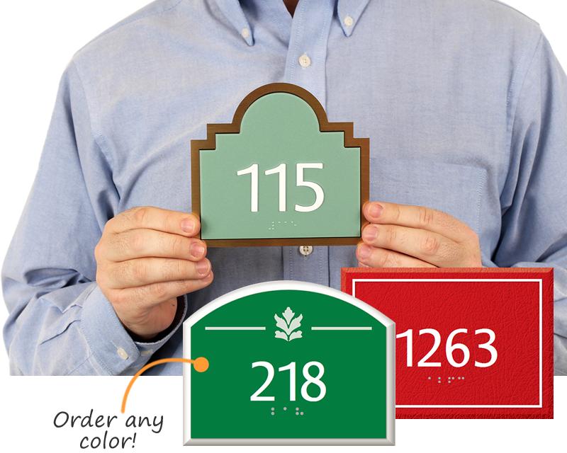 Custom Room Number Signs | Braille Room Number Signs