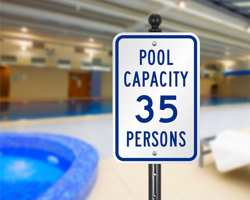 pool and spa capacity signs do not exceed pool occupancy limit. Black Bedroom Furniture Sets. Home Design Ideas