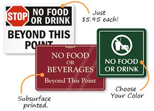 No Food Or Drink Signs Custom No Food Or Drink Signs