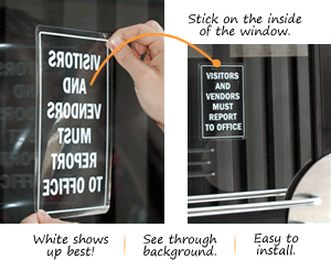 Visitor Window Decals Clear Or White Glass Window Amp Door