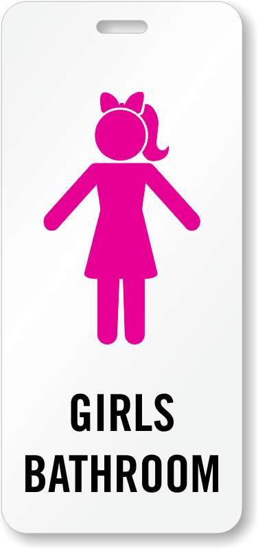 Durable bathroom and hall passes fun designs customize for Girls bathroom symbol